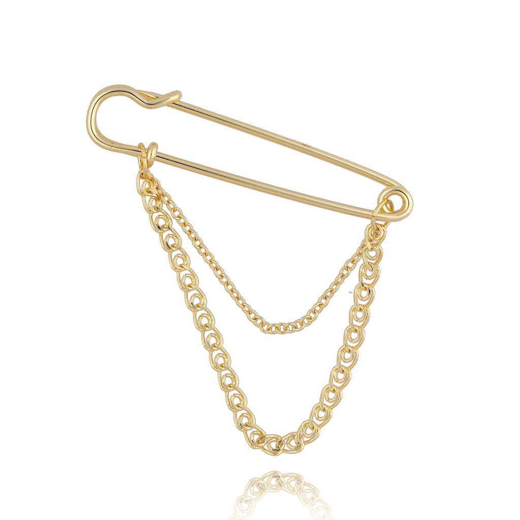 Broszka złota agrafka z łańcuchem BRRG0005