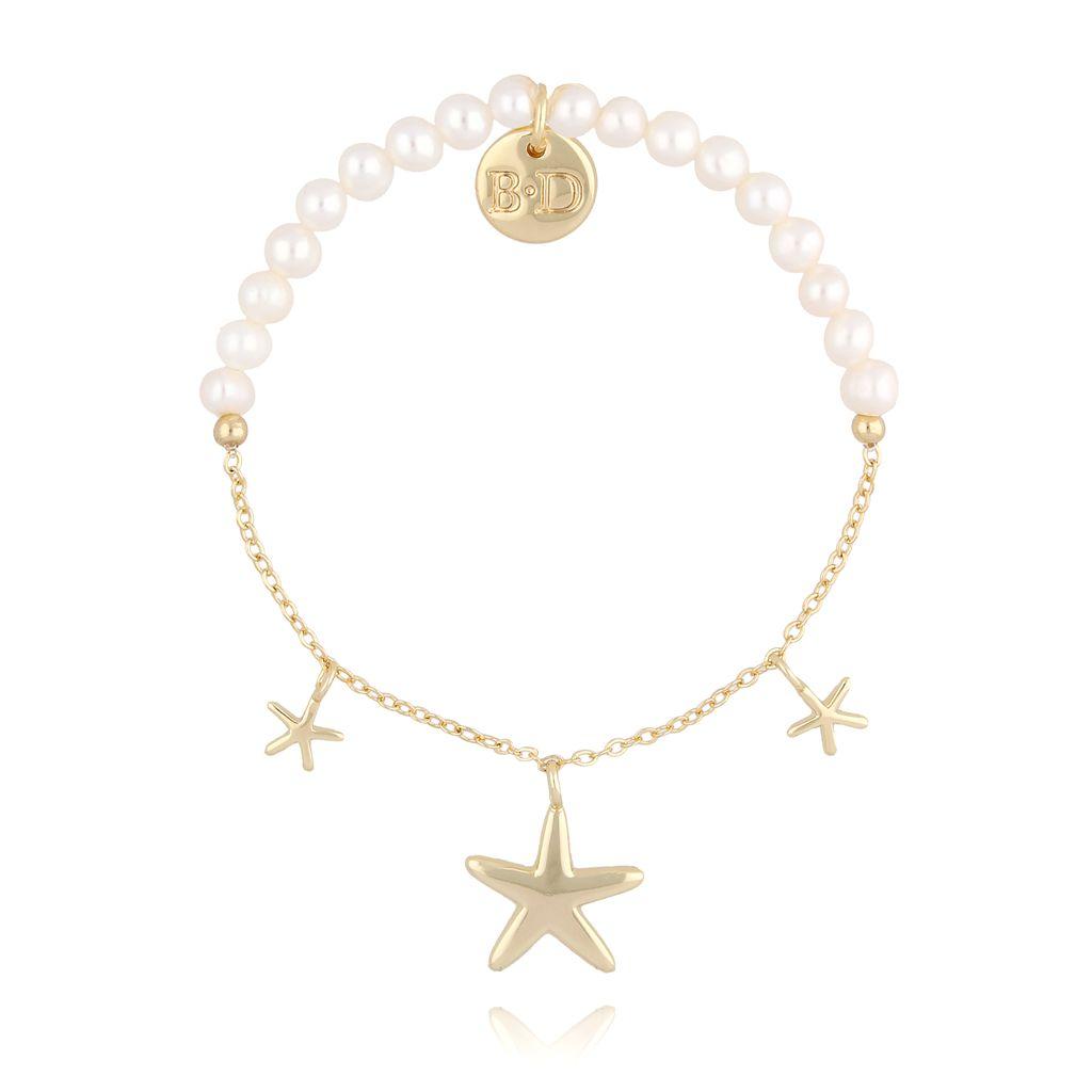 Bransoletka z perłami i łańcuszkiem z gwiazdkami BLB0049