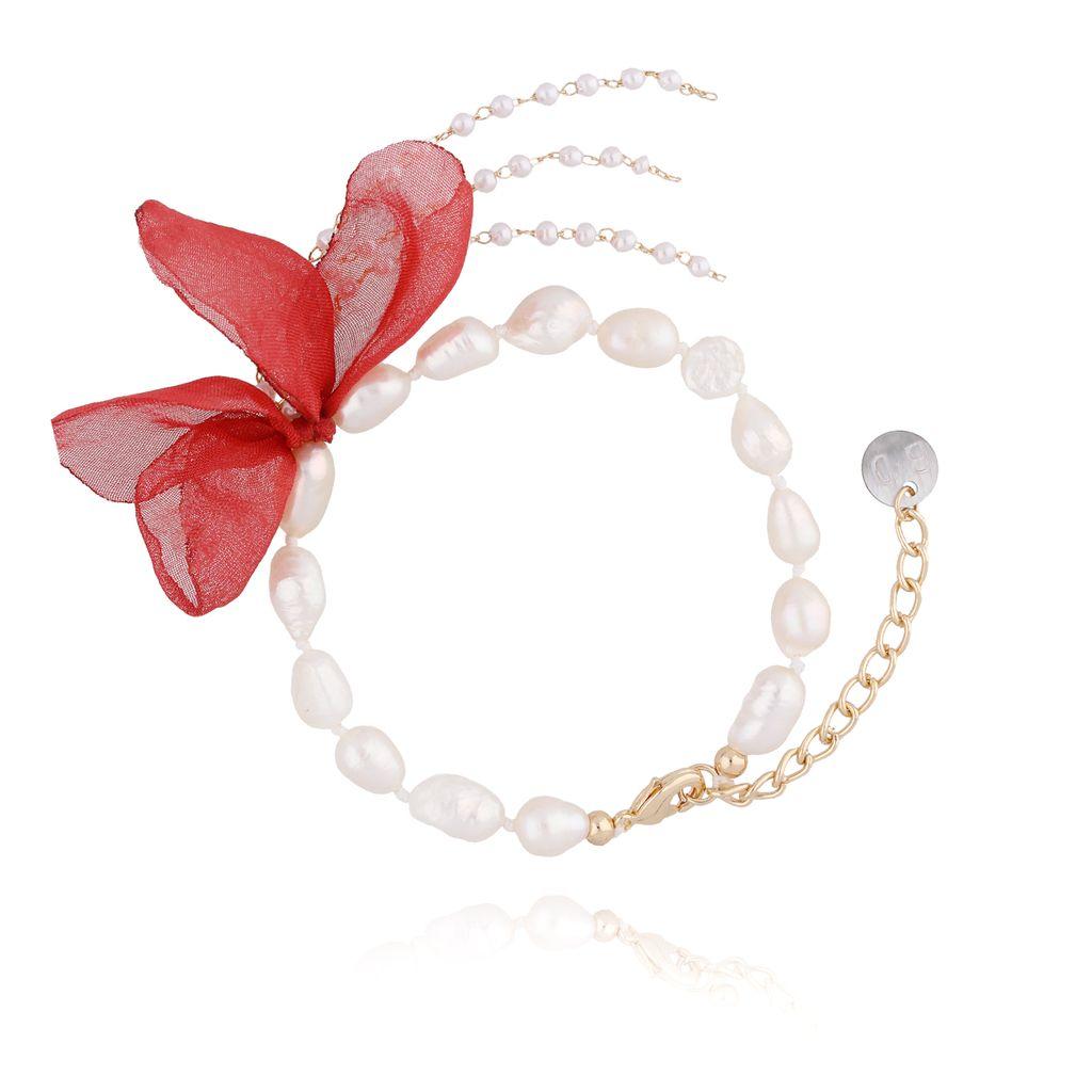Bransoletka z perłami i z czerwonym kwiatem  BBL0067