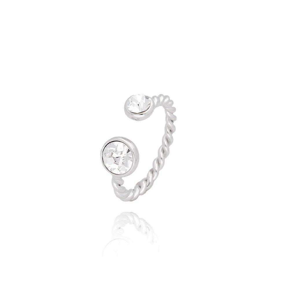 Pierścionek srebrny z przezroczystymi kryształkami PRG0081 rozmiar 14