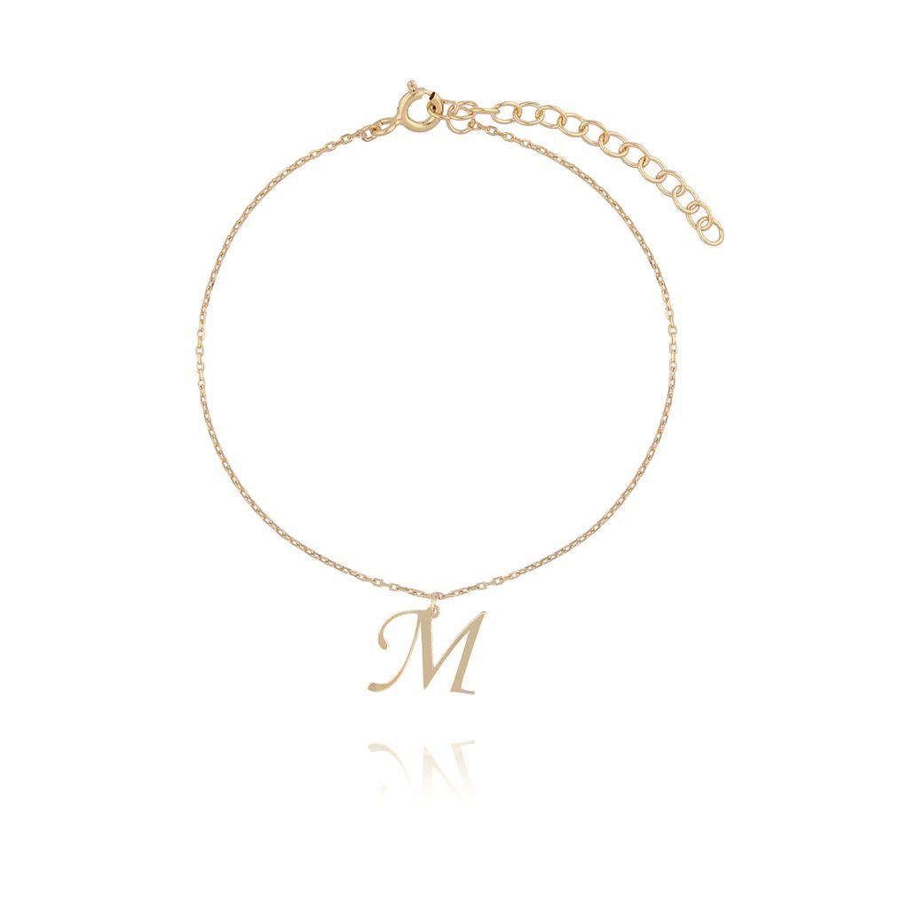 Bransoletka srebrna pozłacana z literką M BAT0051