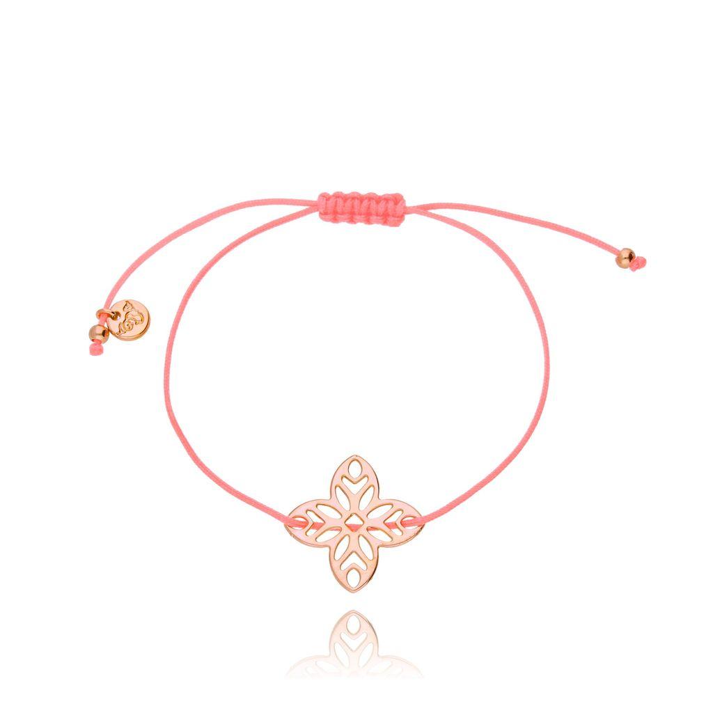 Bransoletka na sznurku różowa - kwiat BGL0259