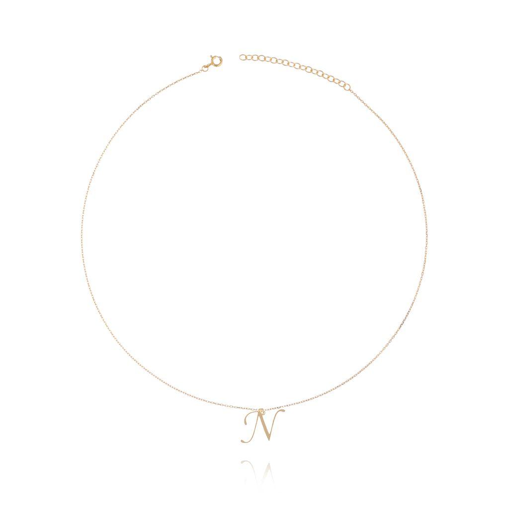 Naszyjnik srebrny pozłacany z literką N NAT0101