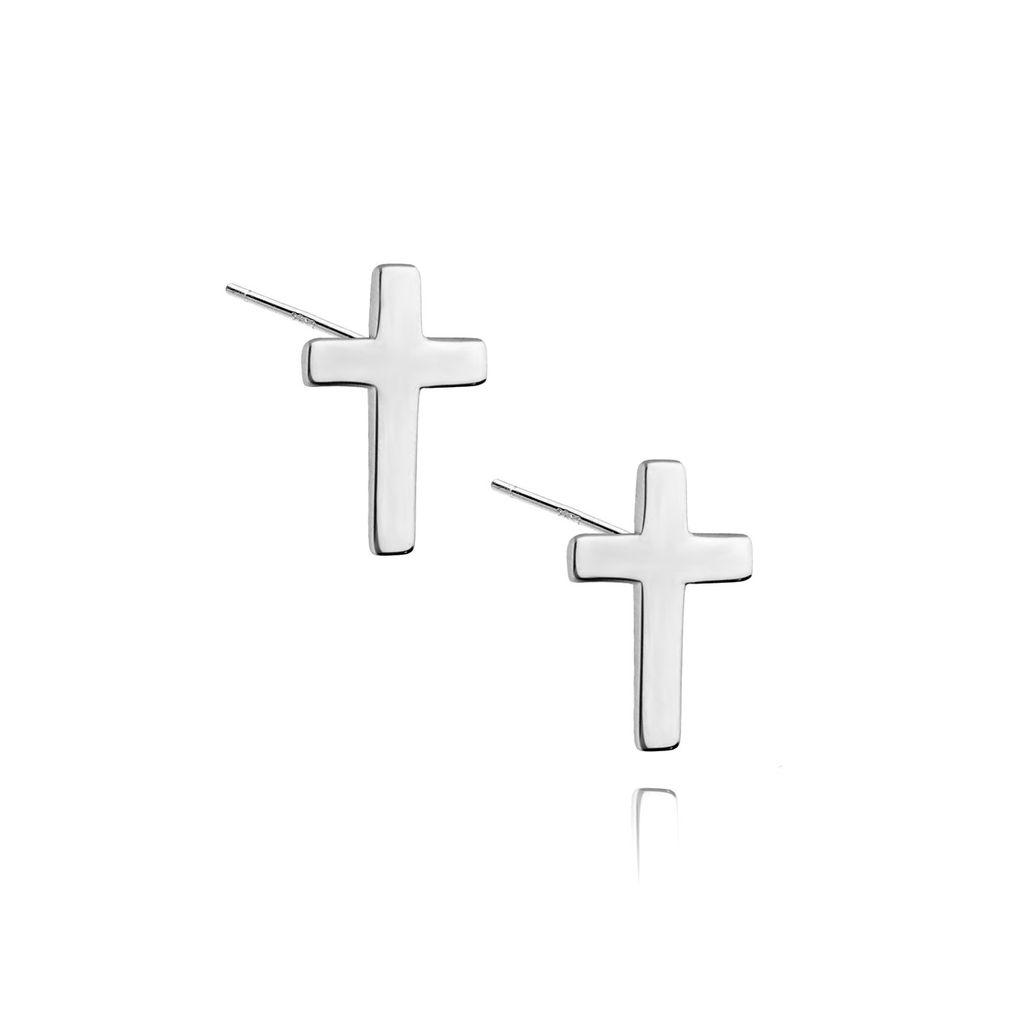 Kolczyki srebrne krzyżyki KSE0006