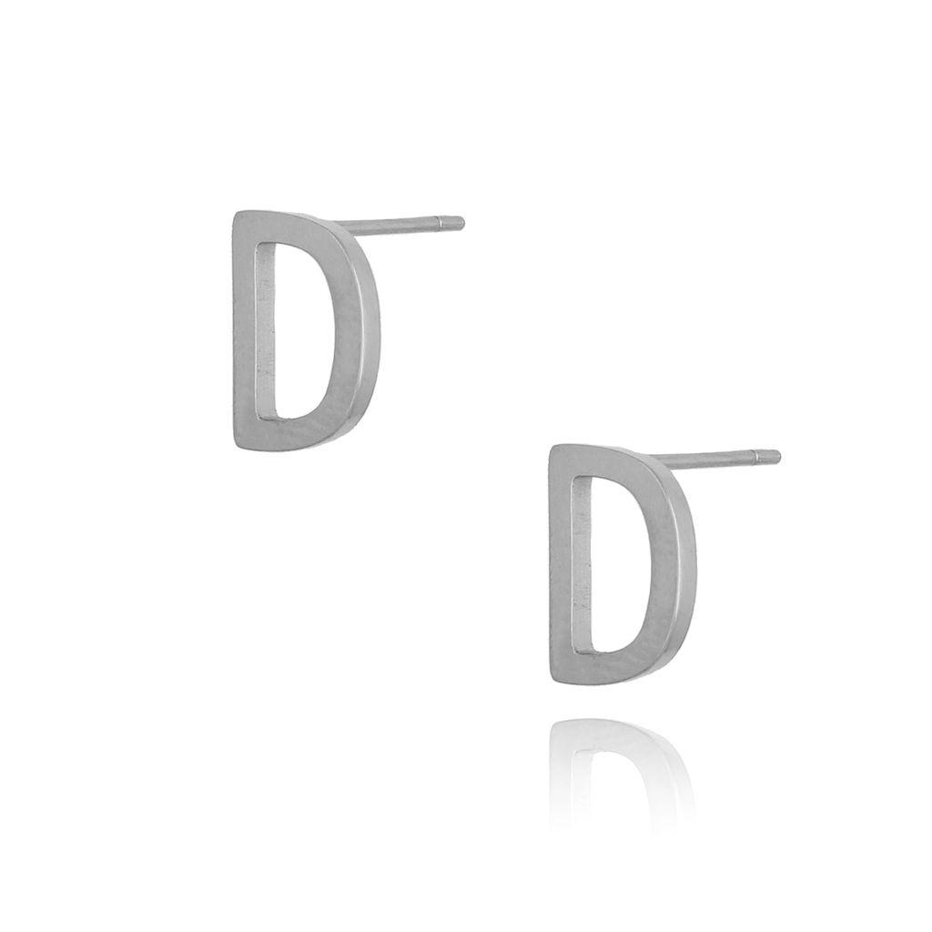 Kolczyki wkrętki srebrne z literką  D KAT0049