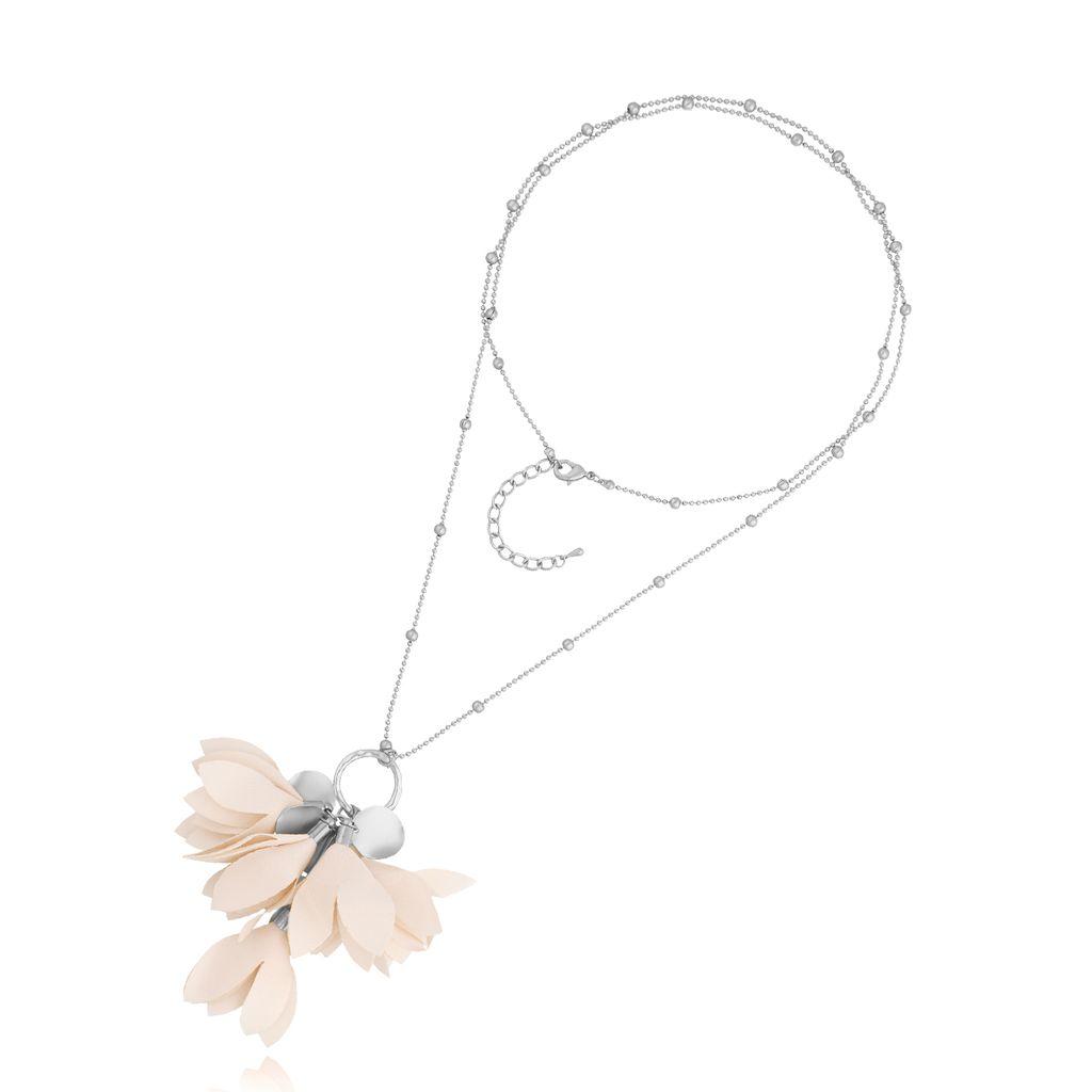 Naszyjnik srebrny z kwiatem kremowy NBL0022