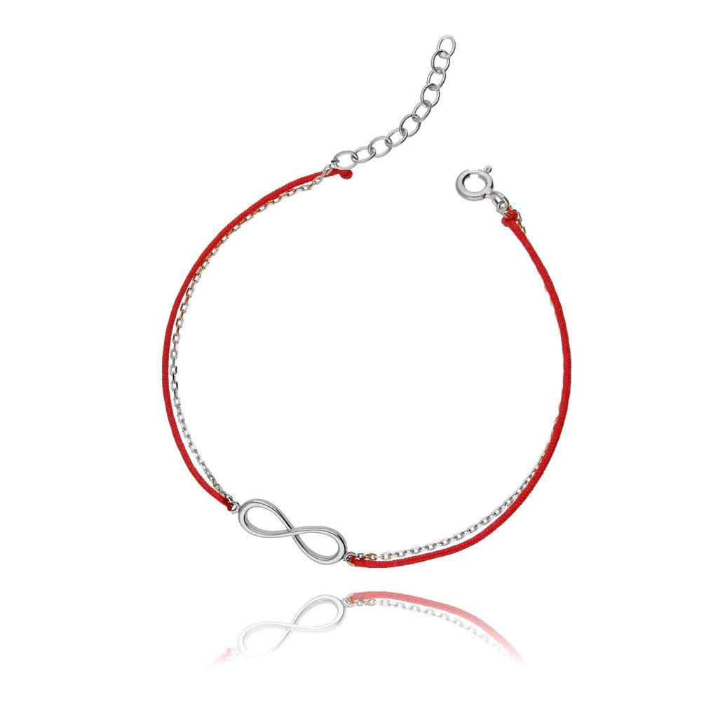 Bransoletka srebrna na czerwonym sznurku - nieskończoność BSE0042