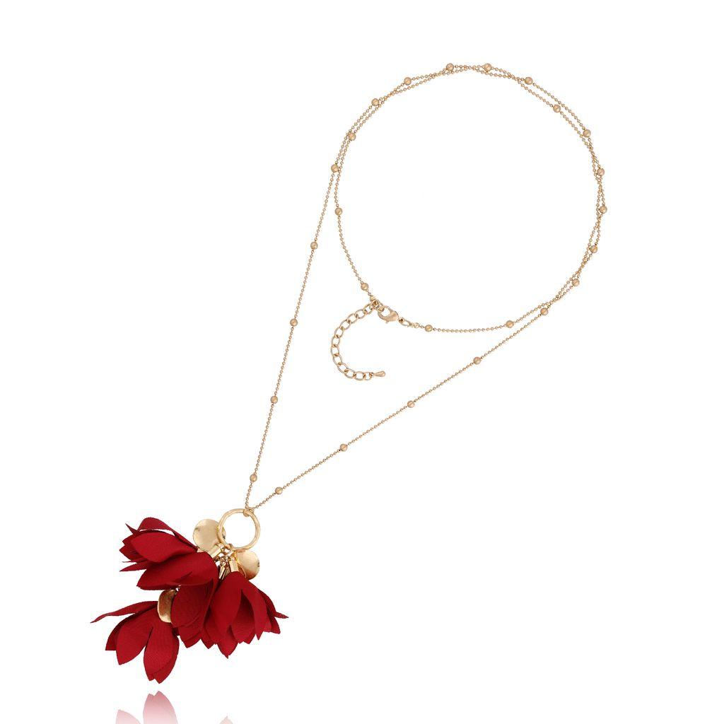 Naszyjnik złoty z kwiatem bordowy NBL0025