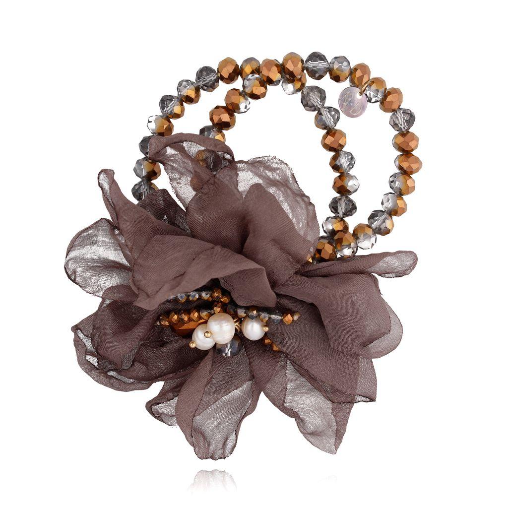 Bransoletka z kryształkami i  brązowym kwiatem BBL0129