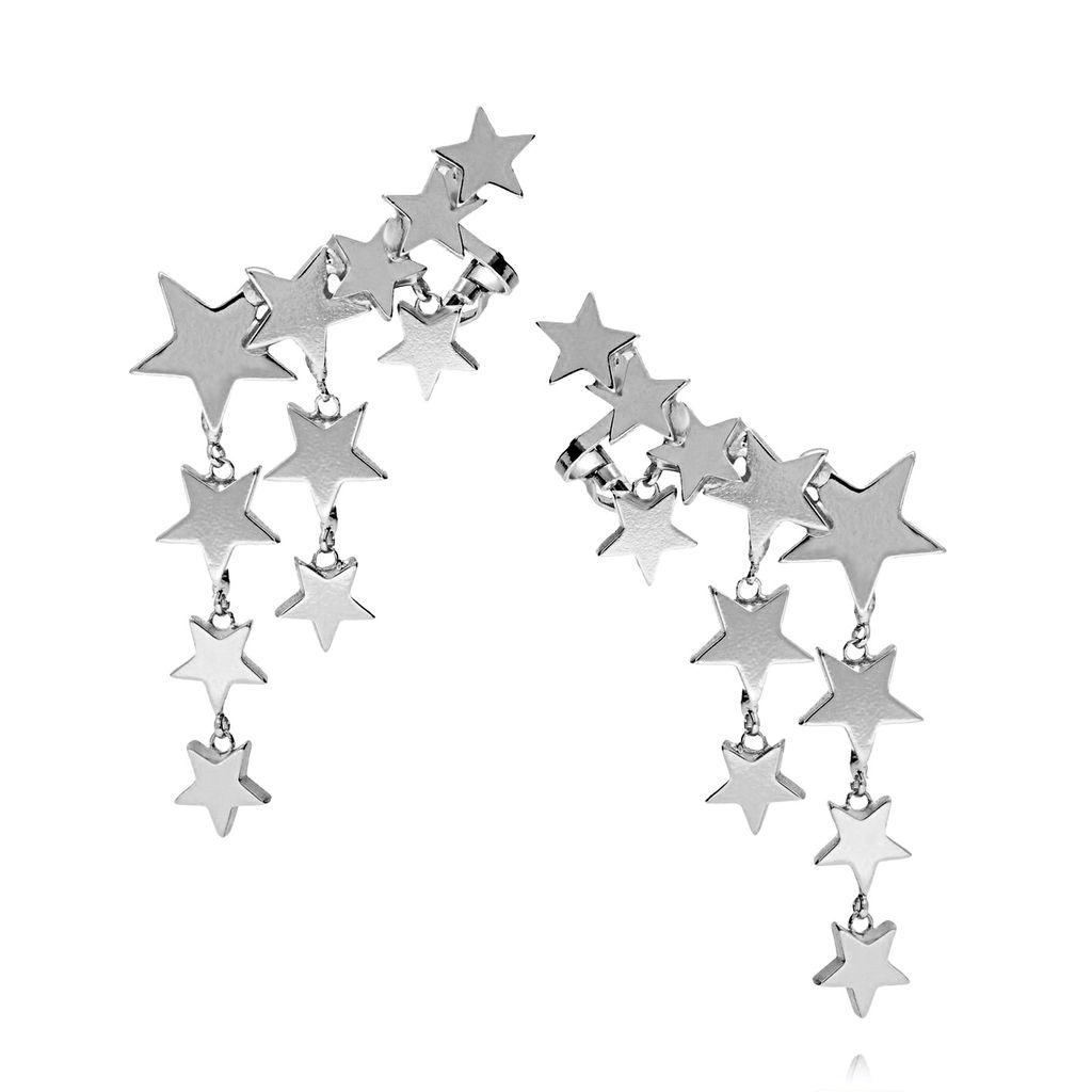 Kolczyki z nausznicą - srebrne gwiazdki KRG0527