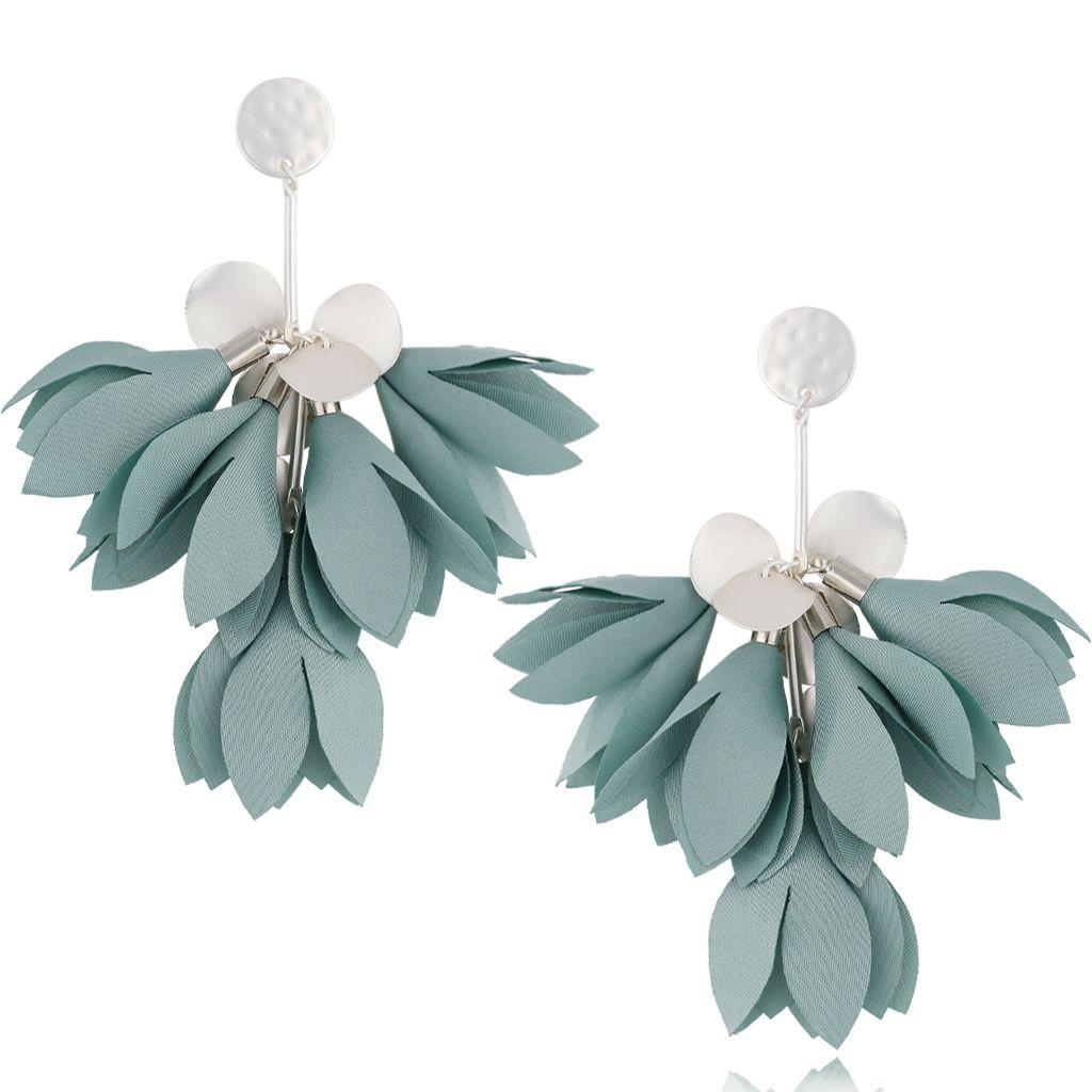 Kolczyki satynowe kwiaty miętowe KBL0465