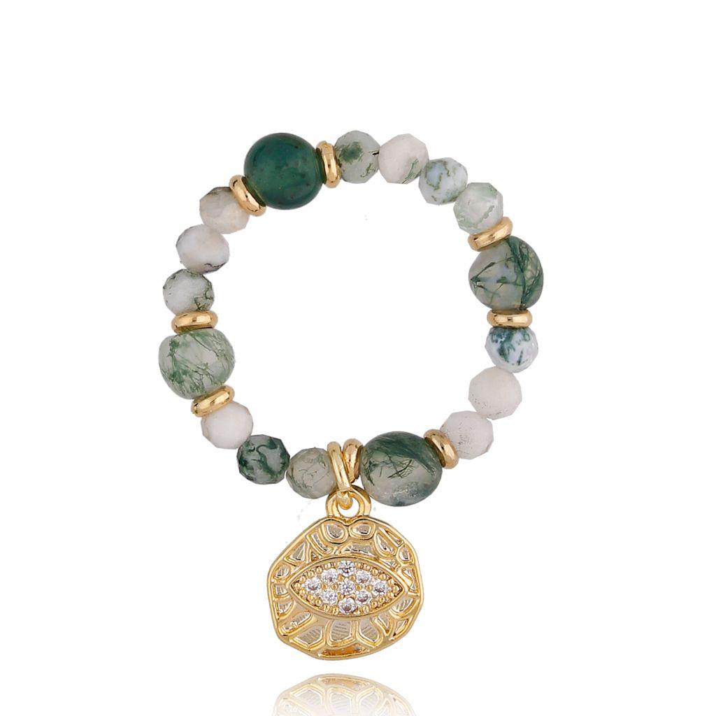 Pierścionek elastyczny zielony PTW0146