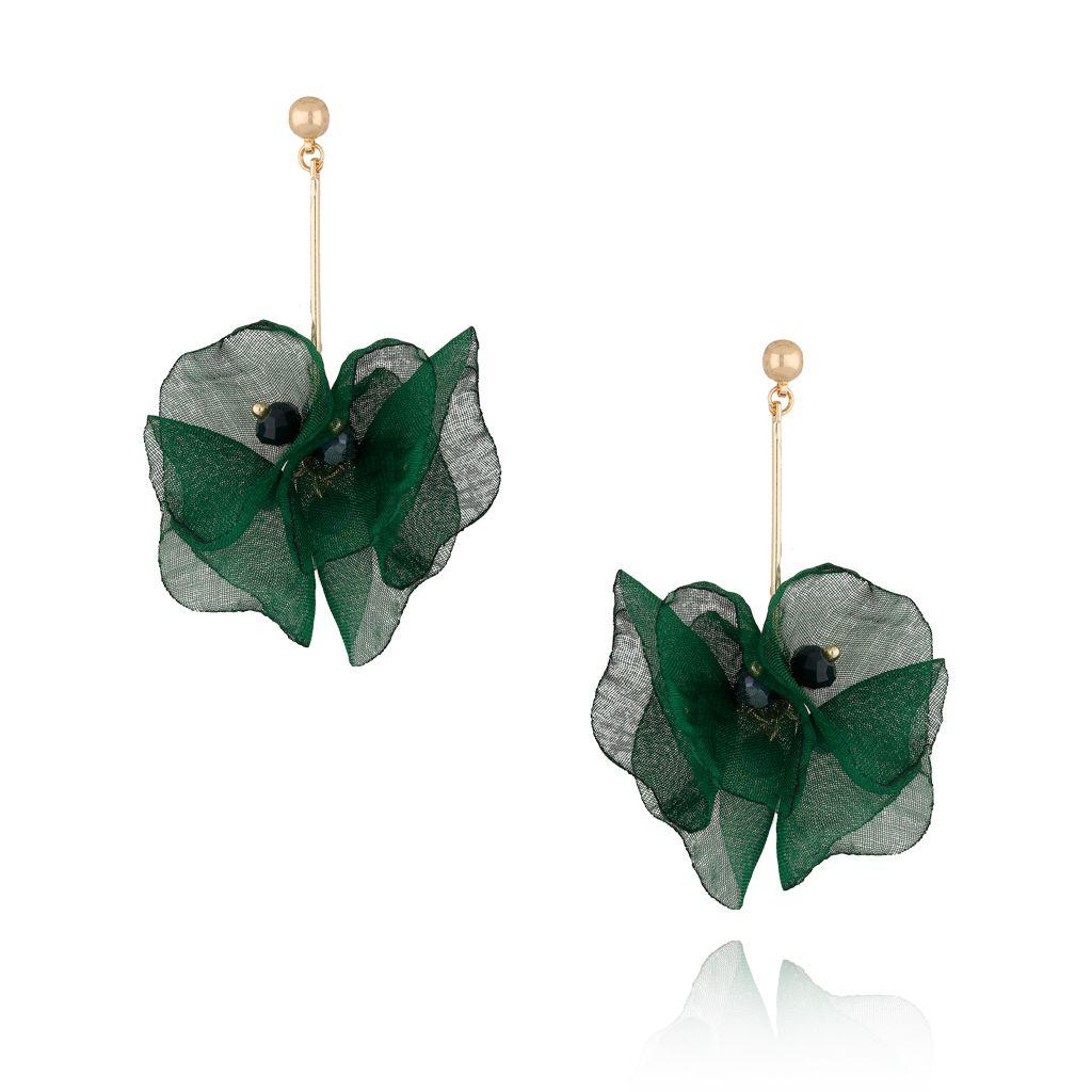 Kolczyki kwiaty jedwabne zielone KBL0354