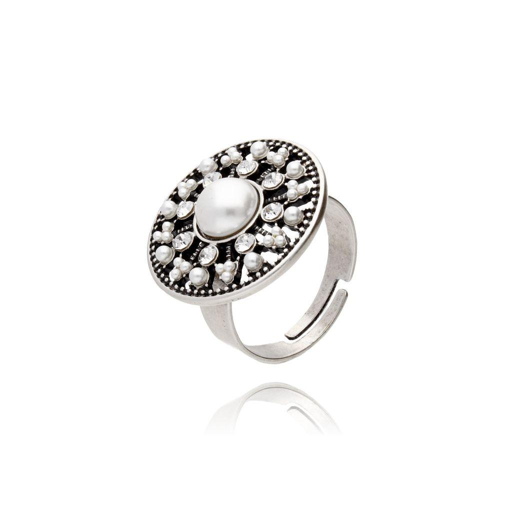 Pierścionek srebrna rozeta z perłami i kryształkami PTS0002
