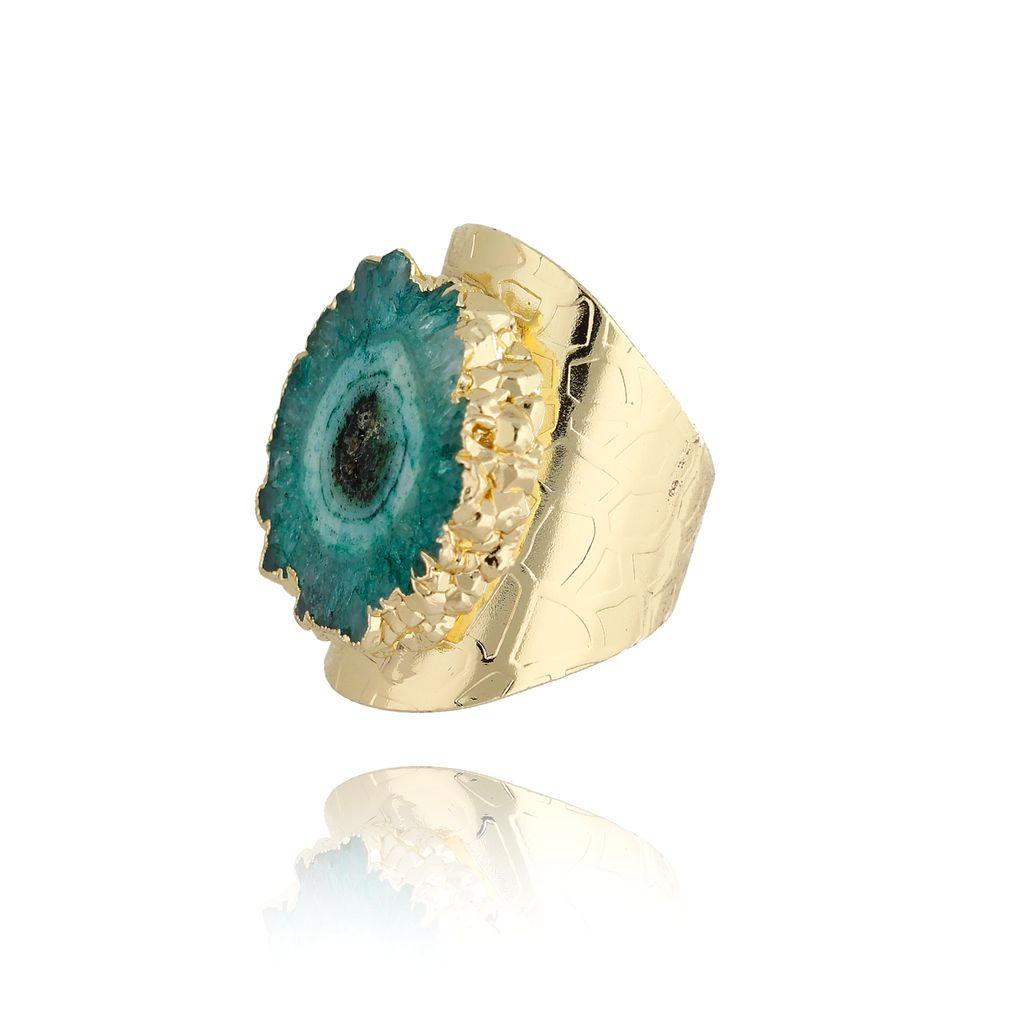 Pierścionek z zielonym agatem PPA0006