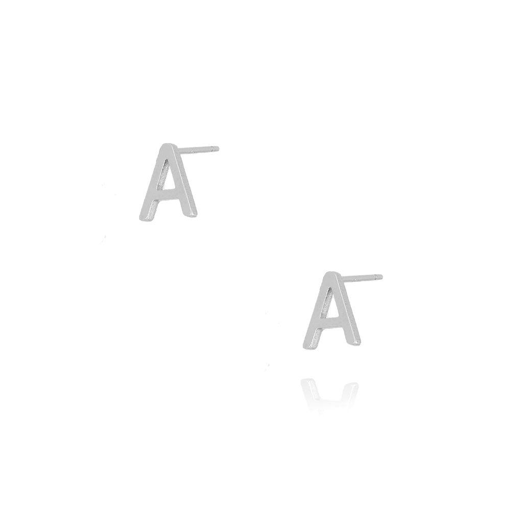 Kolczyki wkrętki z literką A srebrne KAT0028