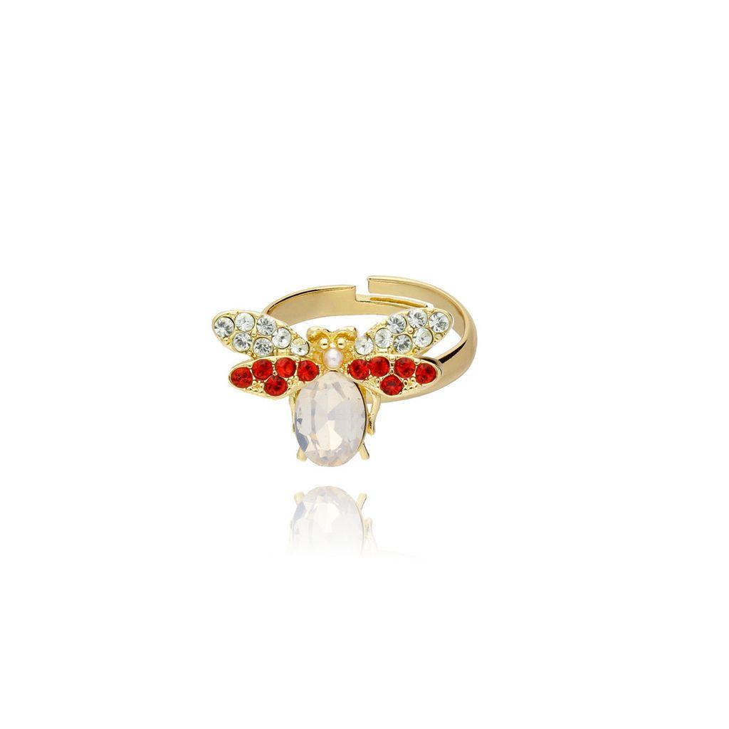 Pierścionek złoty owad z kryształkiem i cyrkoniami PMI0049