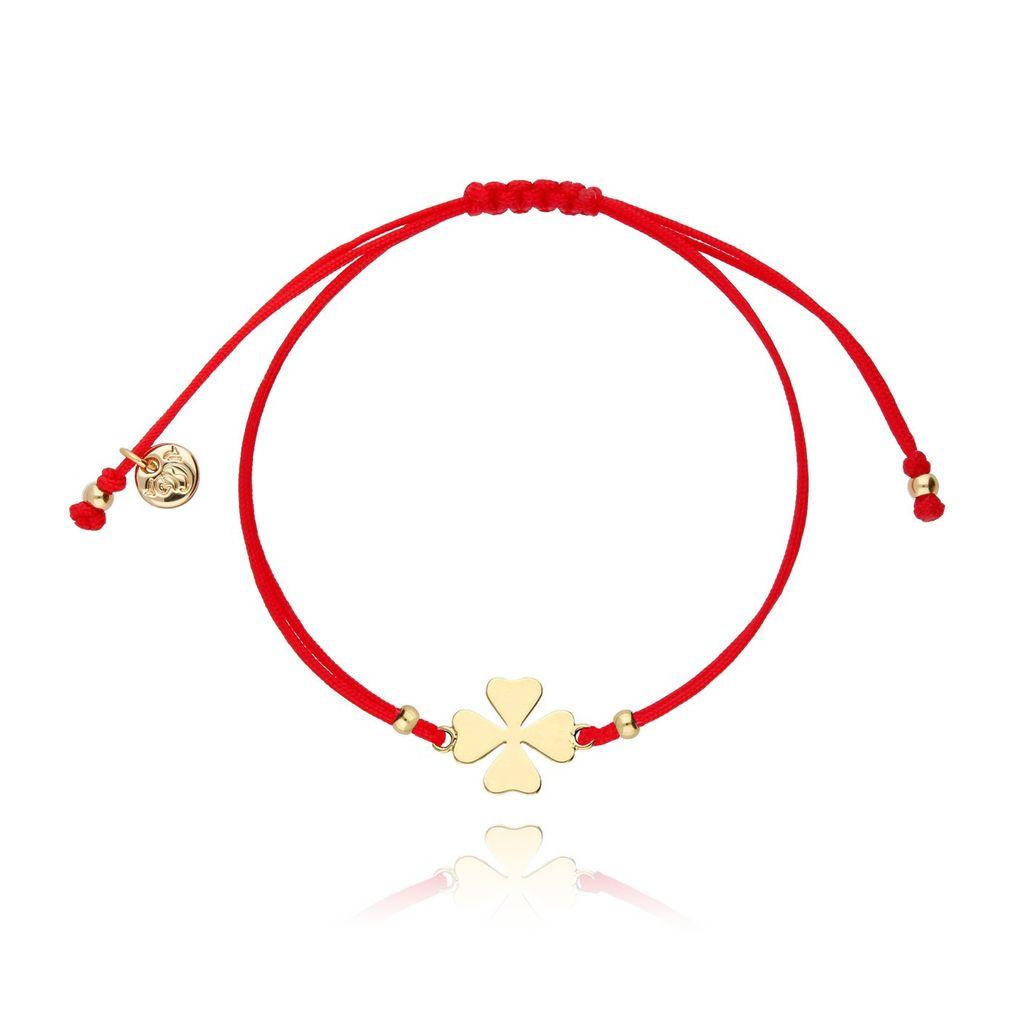 Bransoletka na sznurku czerwona - złota koniczyna BGL0435