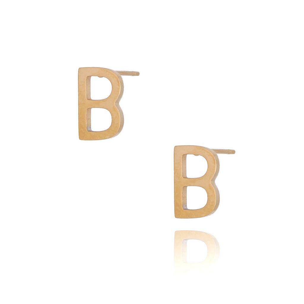 Kolczyki wkrętki złote  z literką  B KAT0059