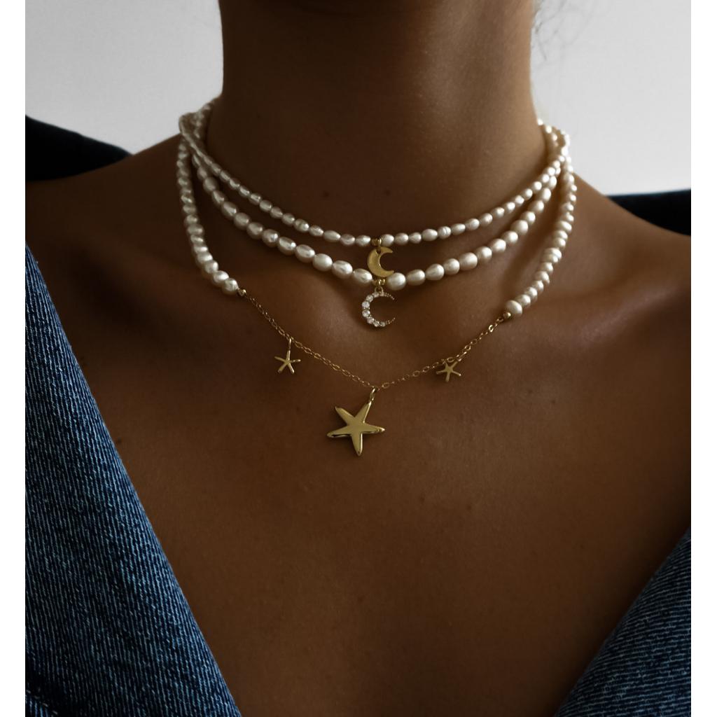 Naszyjnik z perłami i rozgwiazdami NLB0007