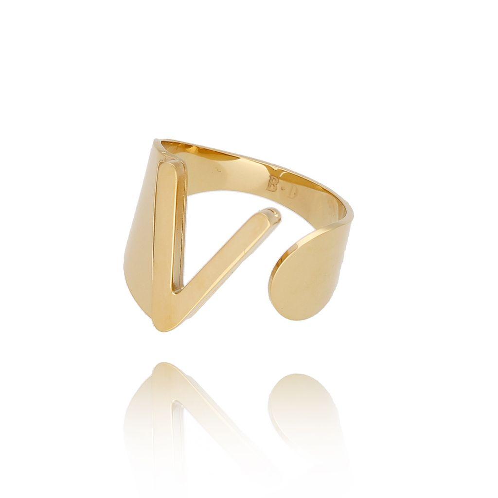 Pierścionek złoty ze stali szlachetnej z literką V PSA0091