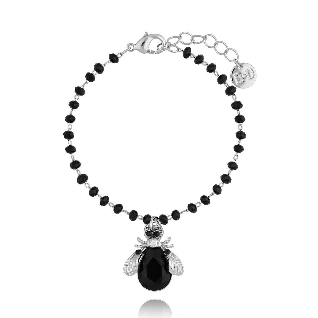 Bransoletka z czarnym owadem z kryształkami BMI0046