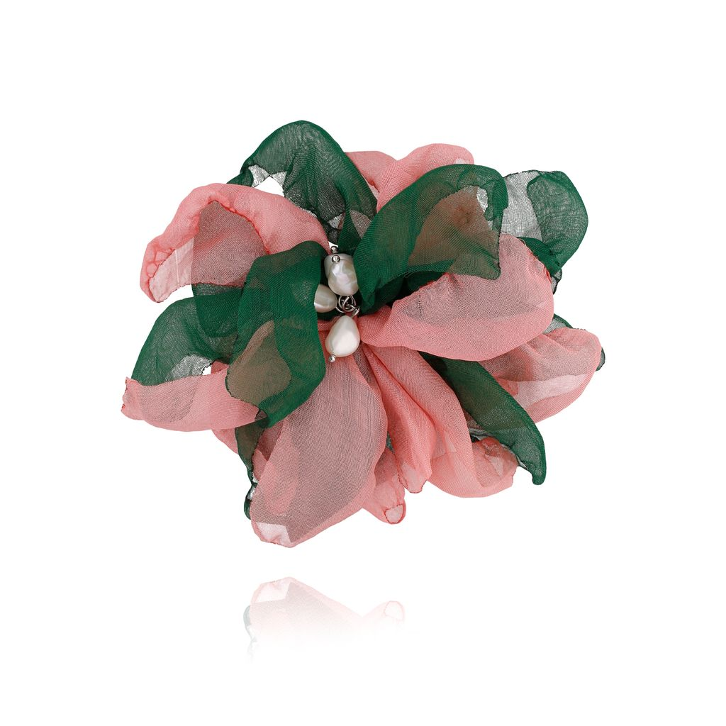 Broszka / spinka kwiat z perełkami zielono różowa BRBL0024
