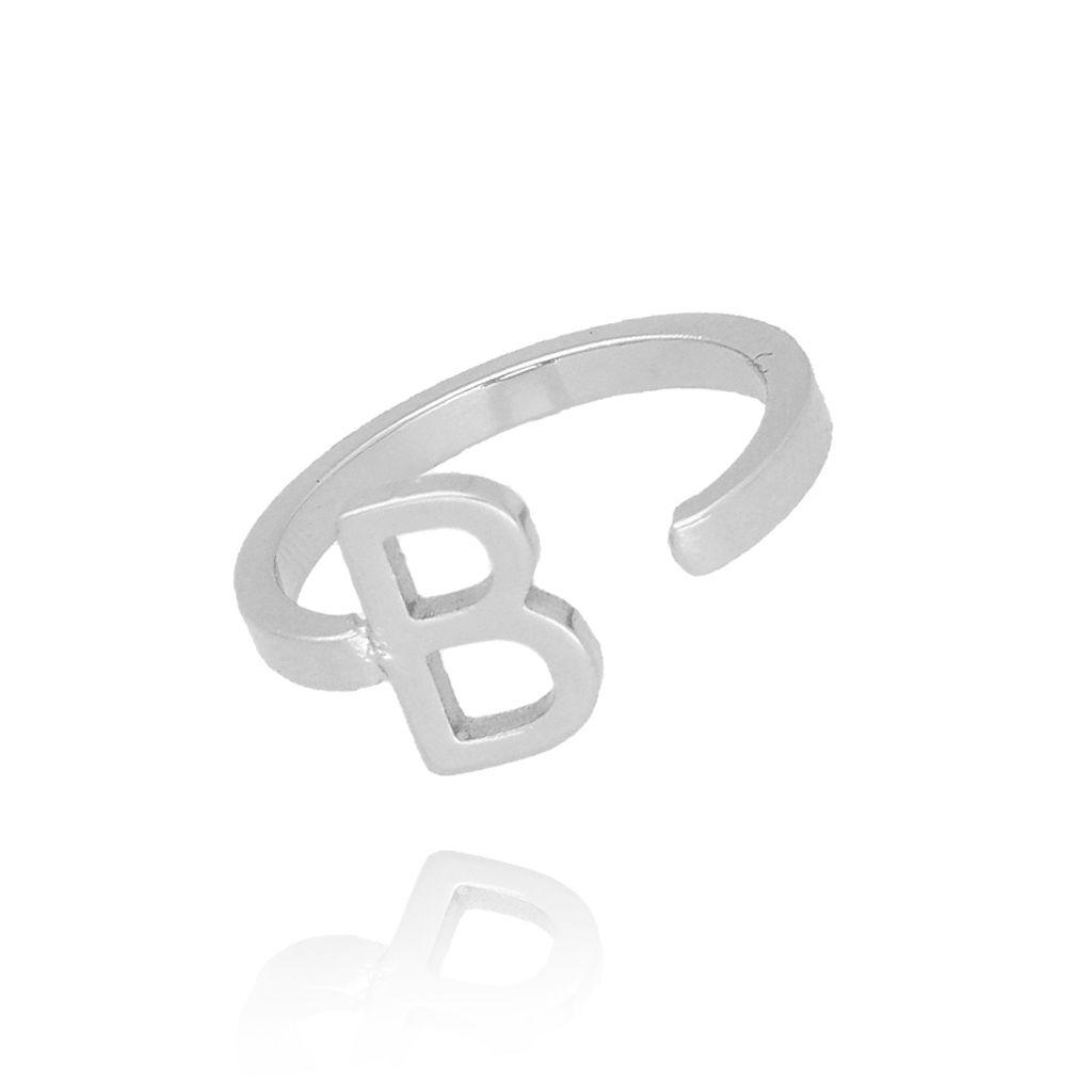 Pierścionek srebrny literka B PAT0003