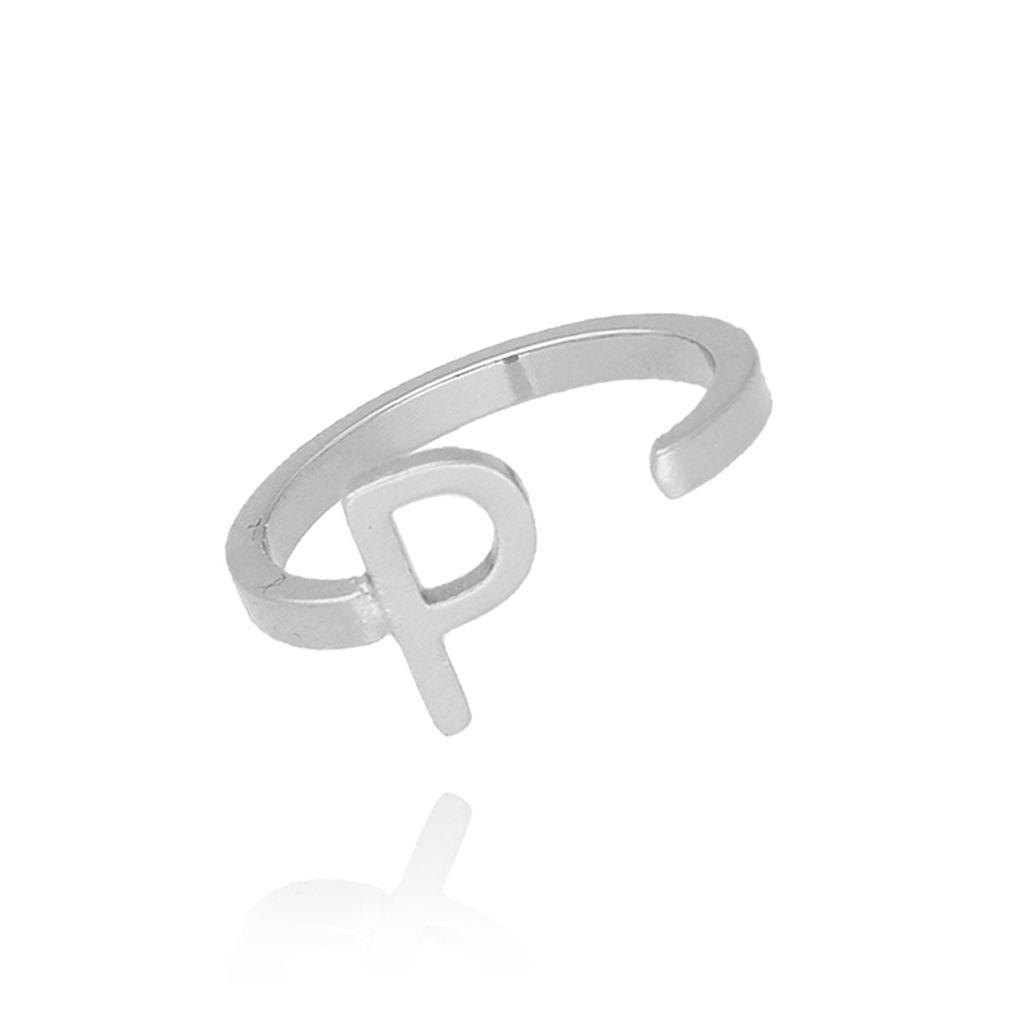 Pierścionek srebrny literka P PAT0021