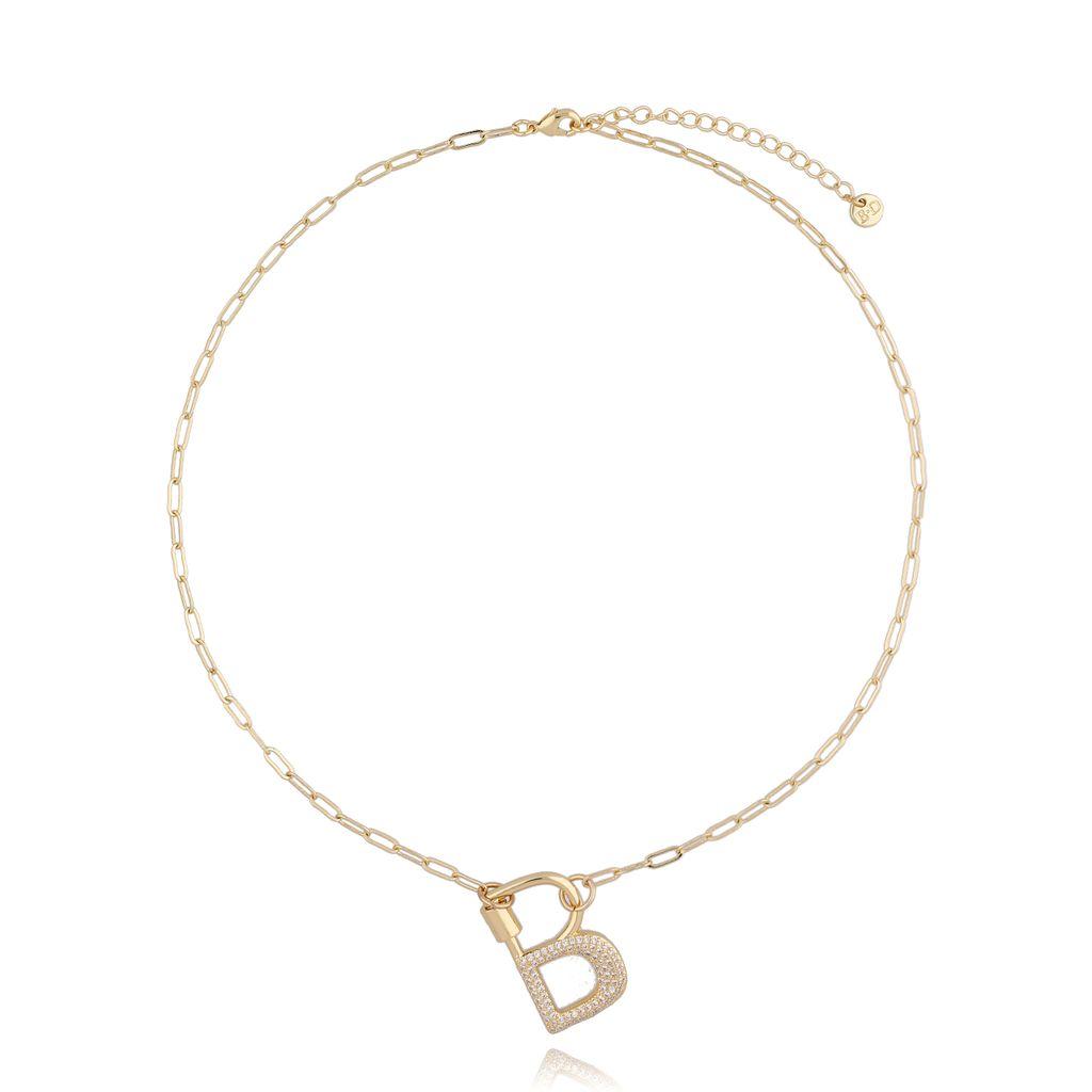 Naszyjnik złoty łańcuch z literą B NSL0052