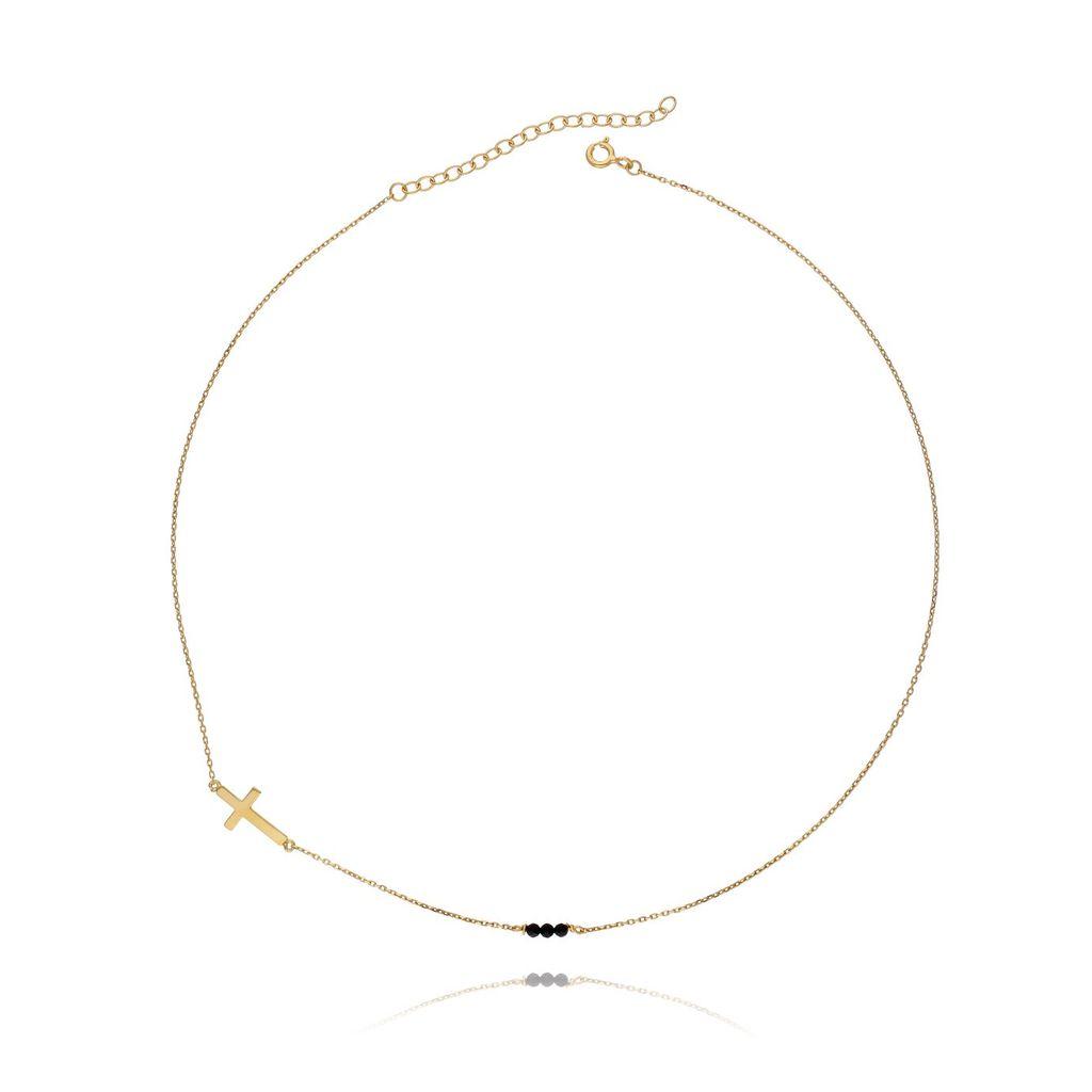 Naszyjnik srebrny pozłacany krzyżyk z kryształkami NSE0003