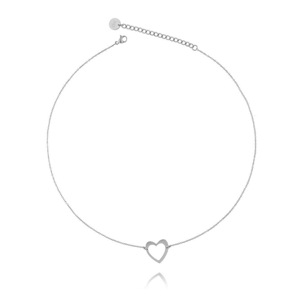 Naszyjnik srebrny z sercem ze stali szlachetnej NSA0081