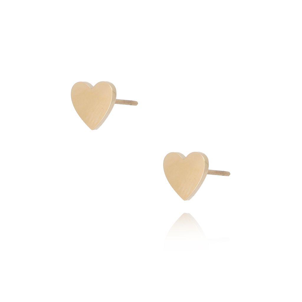 Kolczyki złote serca ze stali szlachetnej KSA0107