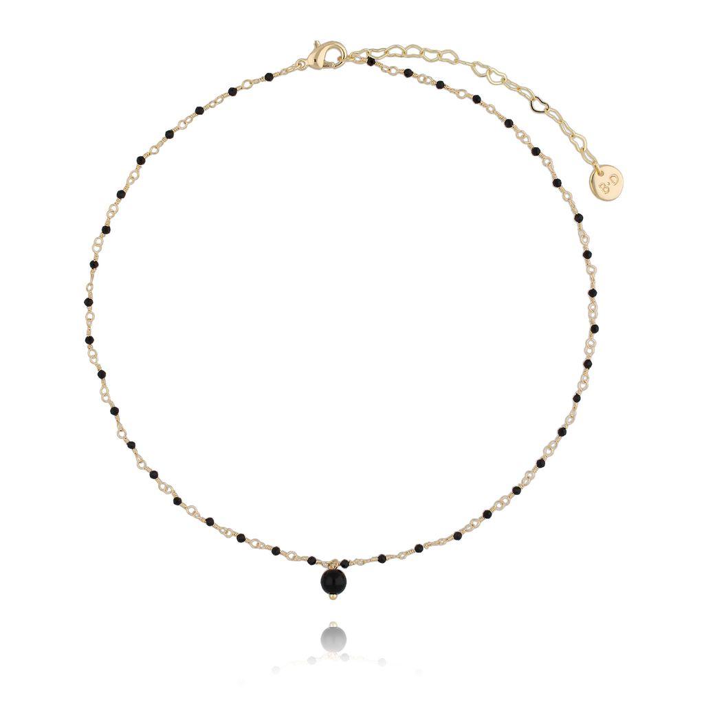 Naszyjnik z  z kryształkami i jadeitem czarny NOA0042