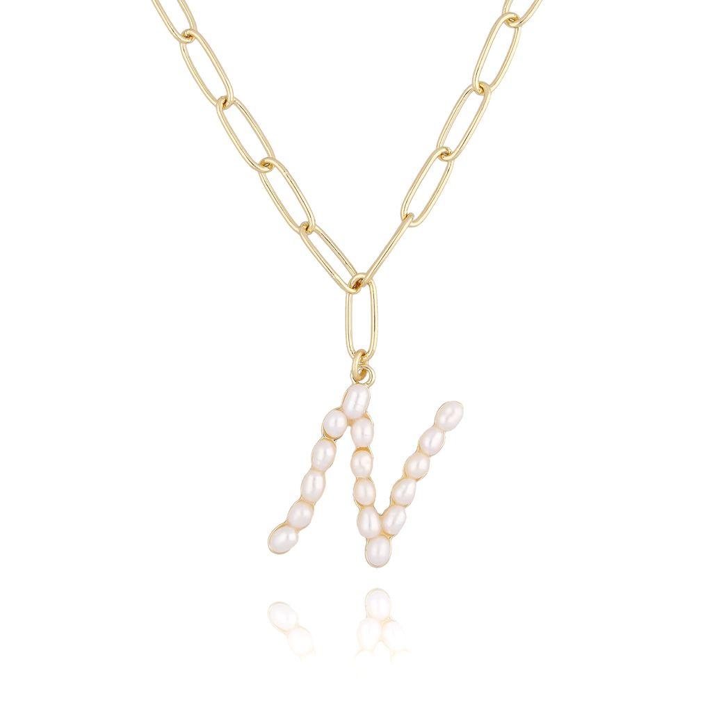 Naszyjnik złoty łańcuch  z literka z perłami N NRG0156