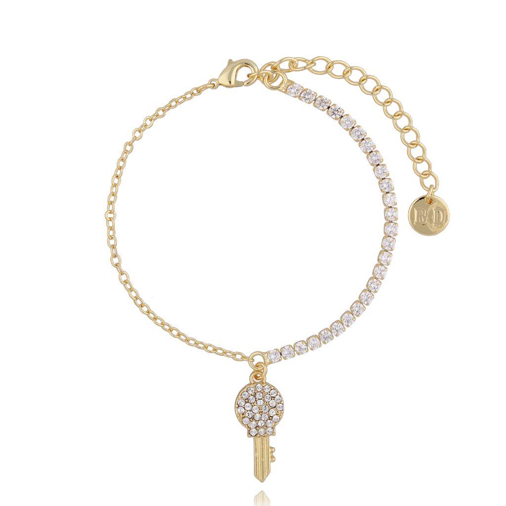 Bransoletka złota z transparentnymi kryształkami i kluczykiem BMU0020