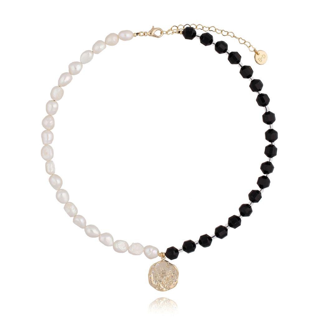 Naszyjnik czarny z perłami NPA0096