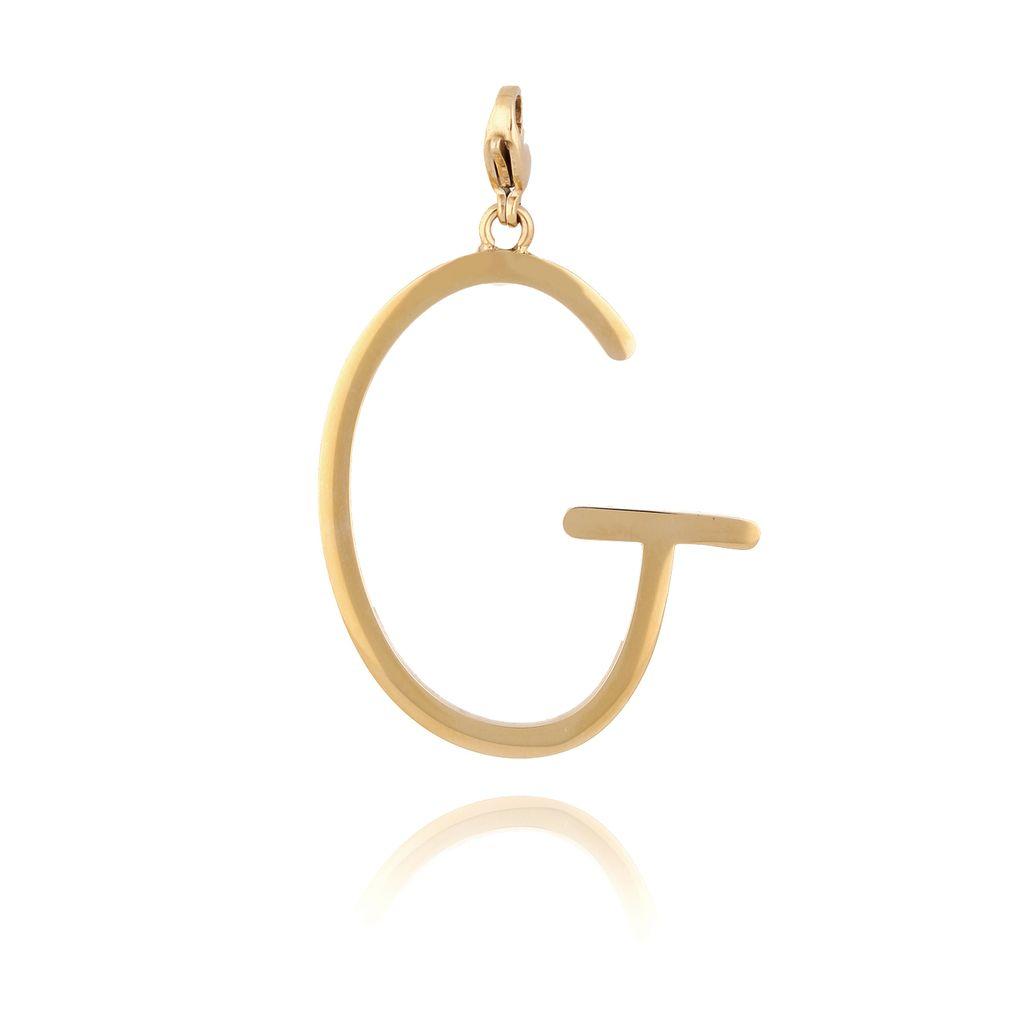 Zawieszka ze stali szlachetnej złota literka G Alphabet NAT0053
