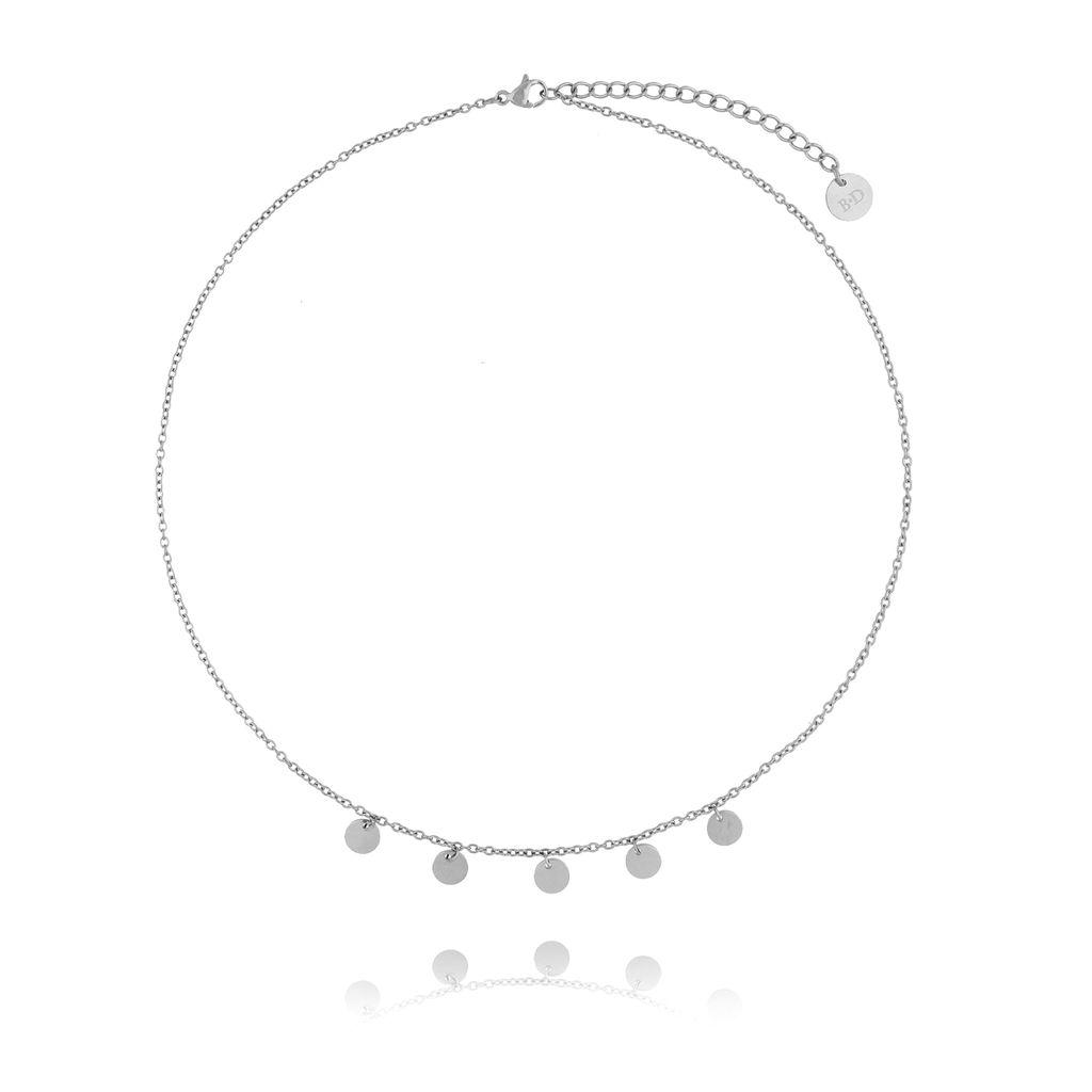 Naszyjnik srebrny z kółeczkami ze stali szlachetnej NSA0047