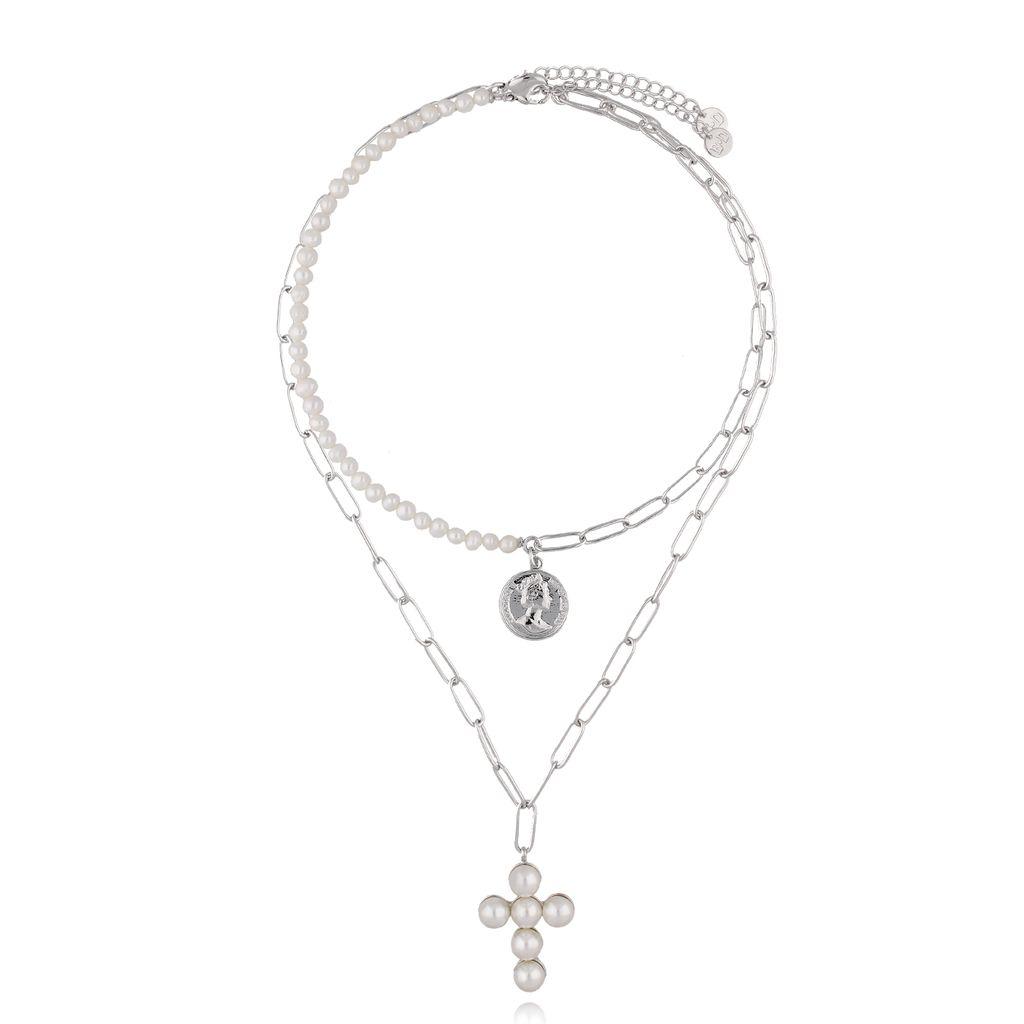 Zestaw dwóch naszyjników z perłami, krzyżem i monetą NRG0291