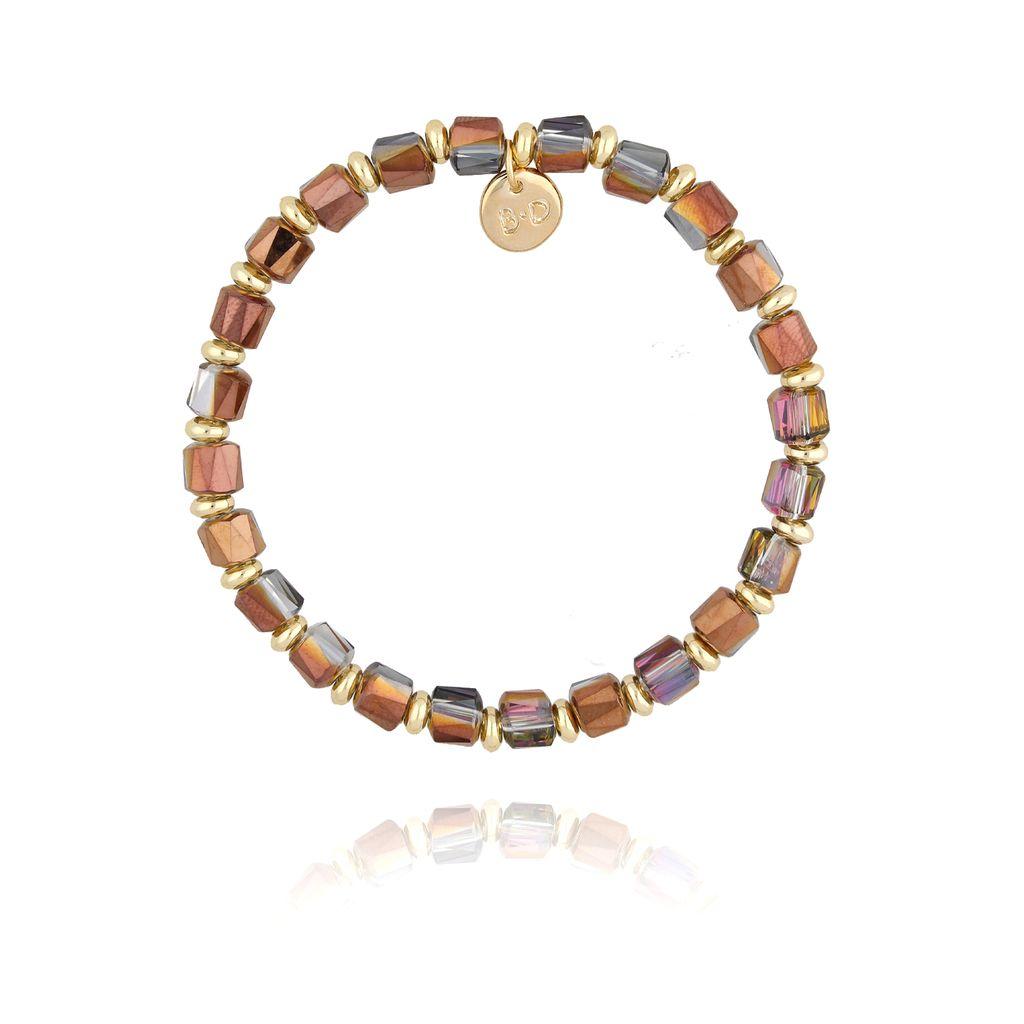Bransoletka ze złoto fioletowymi kryształkami BBL0179