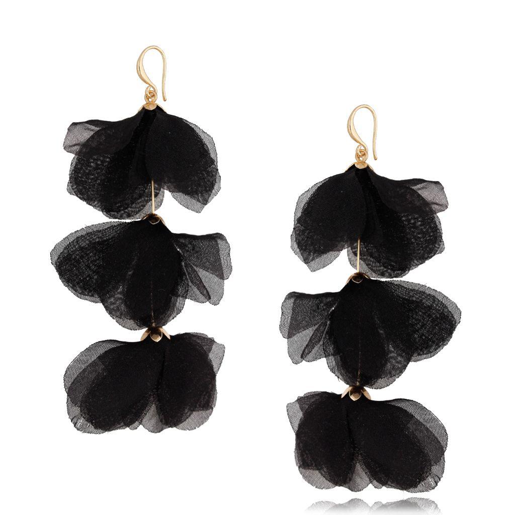 Kolczyki jedwabne kwiaty potrójne czarne KBL0621