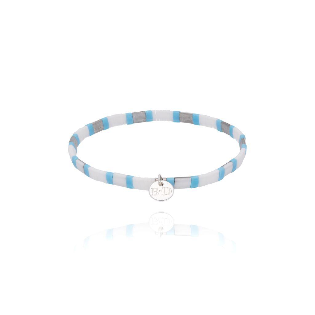 Bransoletka elastyczna niebiesko biała BLB0061