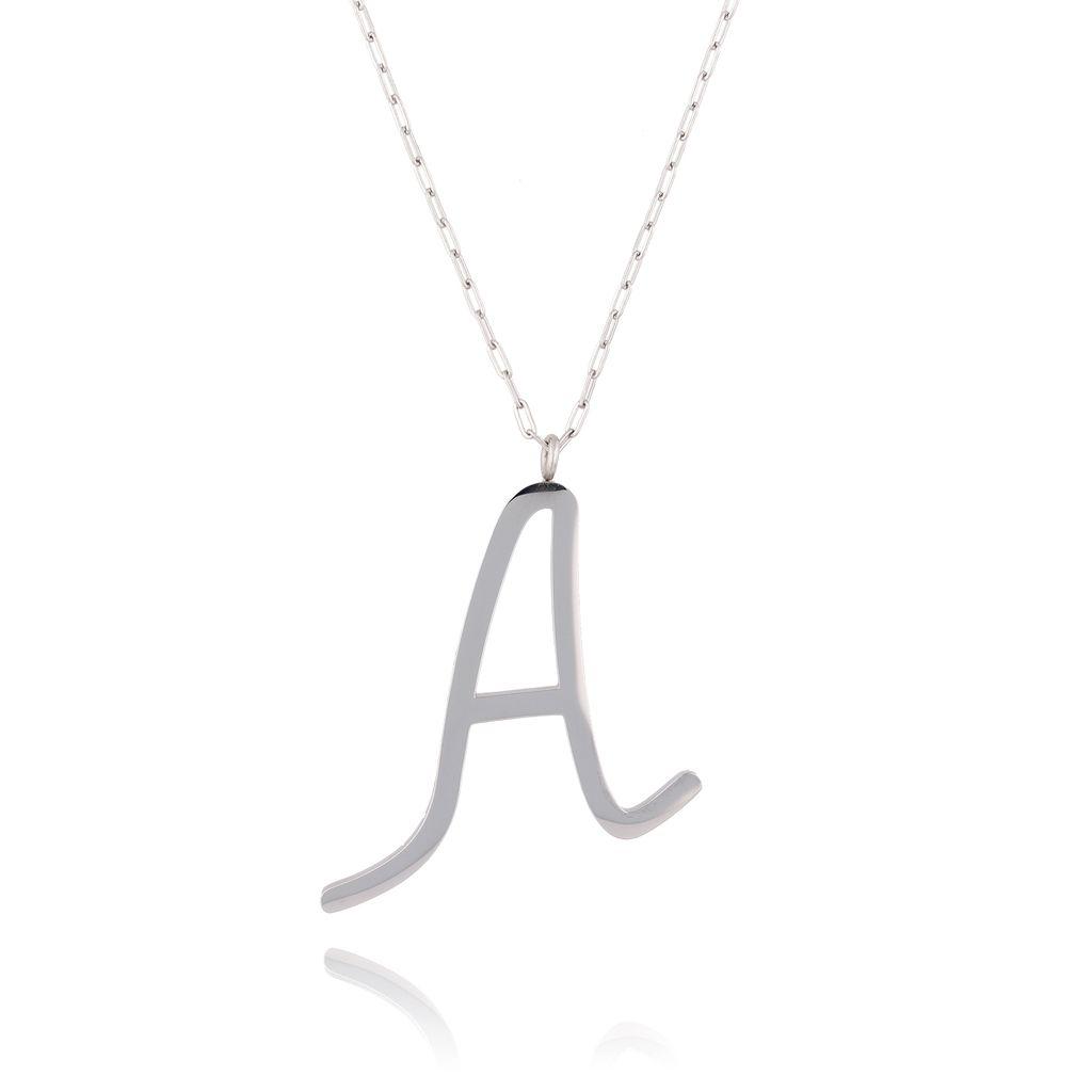 Naszyjnik ze stali szlachetnej srebrny literka A Alphabet NAT0001