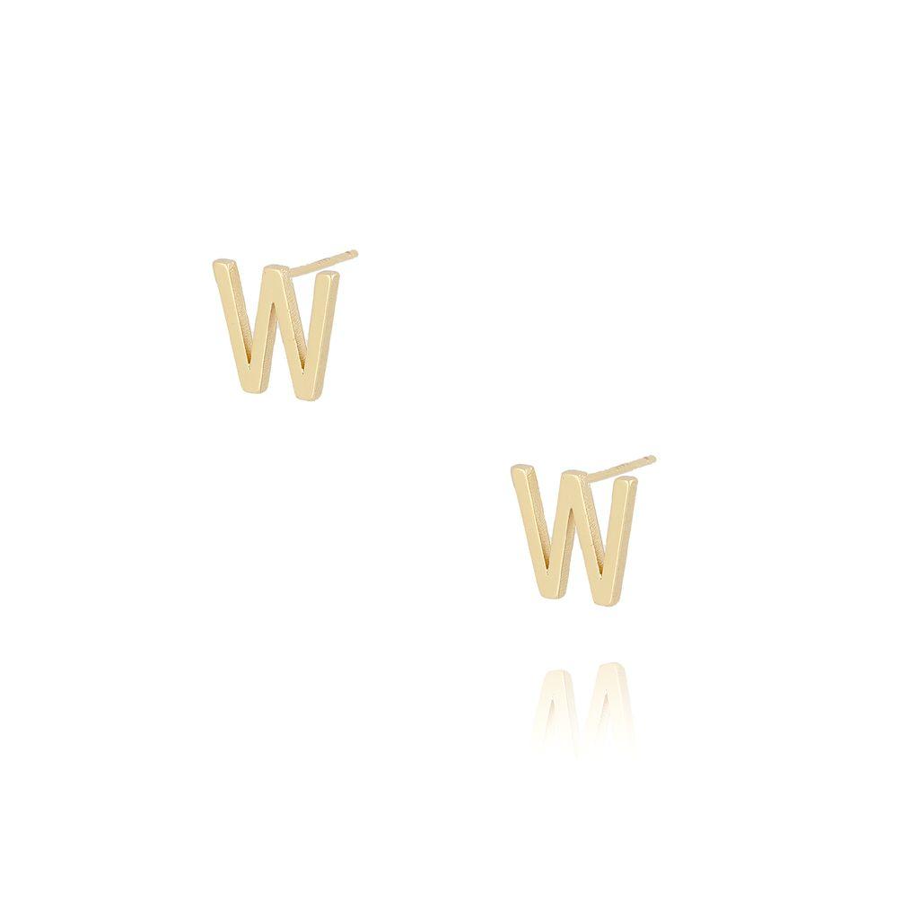 Kolczyki wkrętki z literką W złote KAT0027
