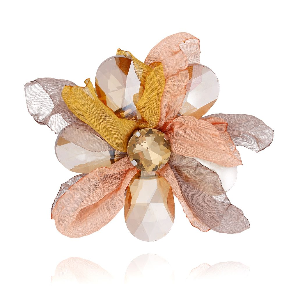 Broszka kwiat z kryształami szaro brzoskwiniowa BRBL0009