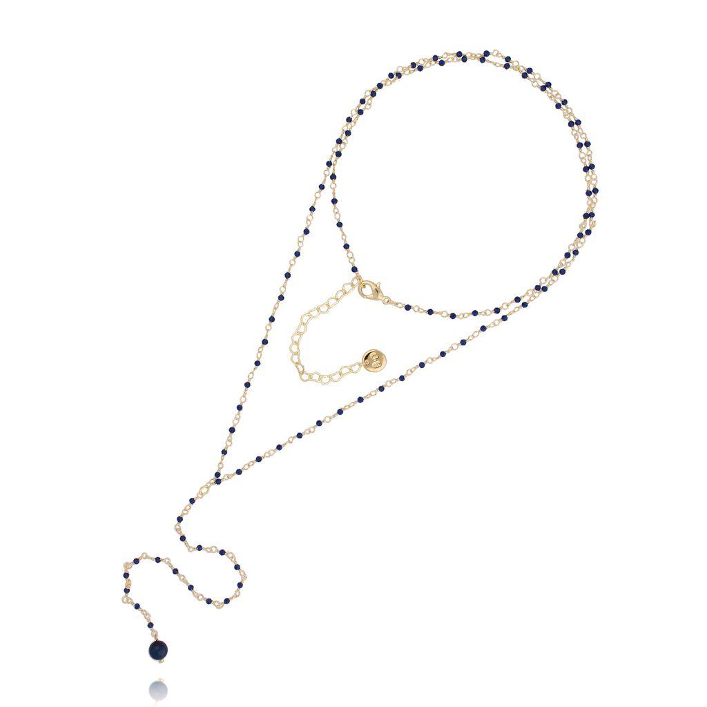 Naszyjnik różaniec z kryształkami i granatowym tygrysim okiem NOA0054