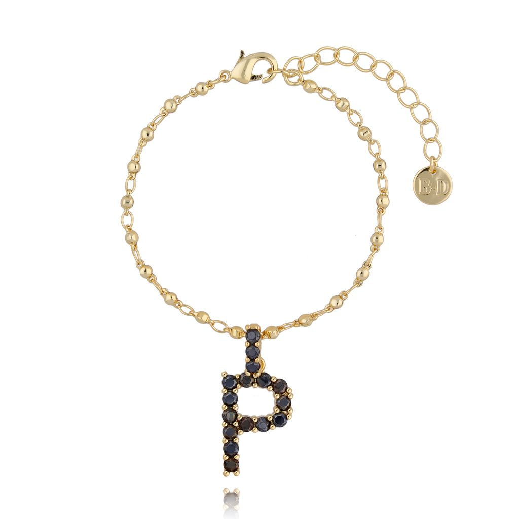 Bransoletka złoty łańcuch z zawieszką litera P BRG0146