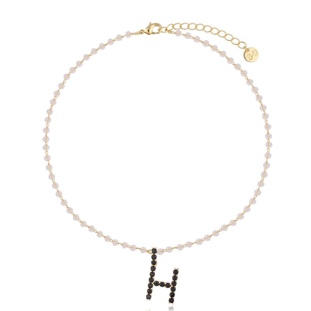 Naszyjnik kryształowy łańcuszek z literą H NRG0221