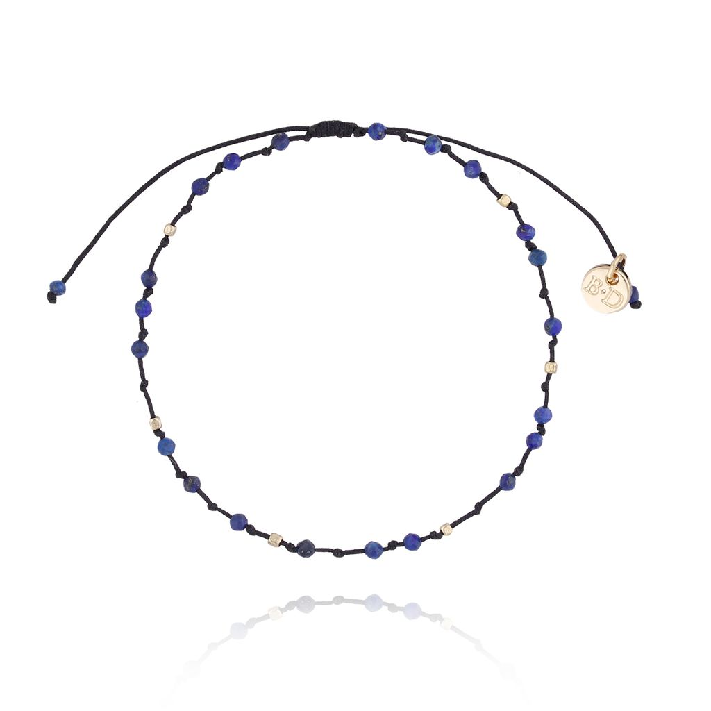 Bransoletka ze sznurkiem z supełkami granatowa BSC0736